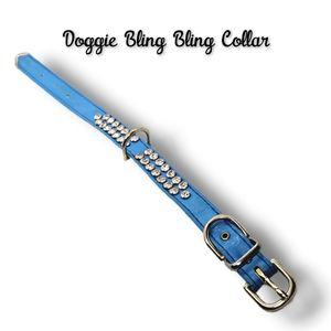 👣3/$20. Blue Leather Bling Bling Doggie Collar